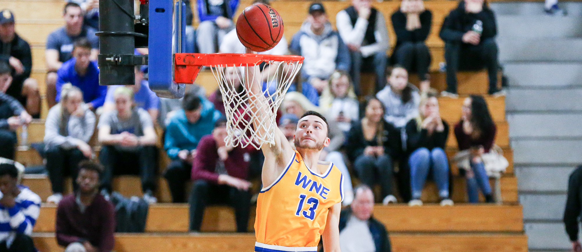 Freshman Alex Sikorski broke out for a season-high 24 points on 10-of-15 shooting in Western New England's wire-to-wire victory over Eastern Nazarene on Saturday. (Photo by Chris Marion)