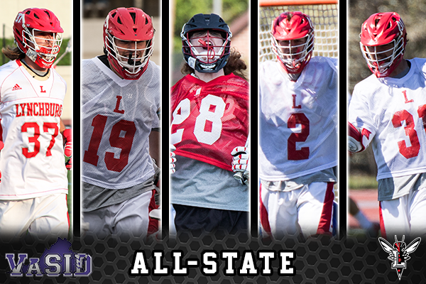 Action photos of the five All-State selections for Lynchburg men's lacrosse. Text: VaSID All-State. Hornet logo on bottom.