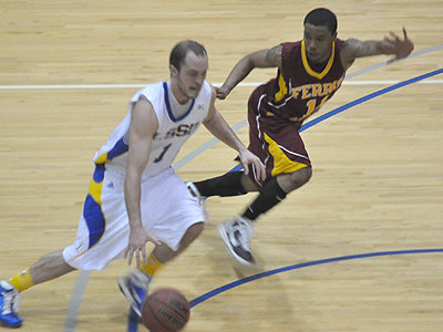 FSU senior guard Darien Gay chases LSSU's Micah Hudson up the floor in Thursday's game (Photo by Rob Bentley)