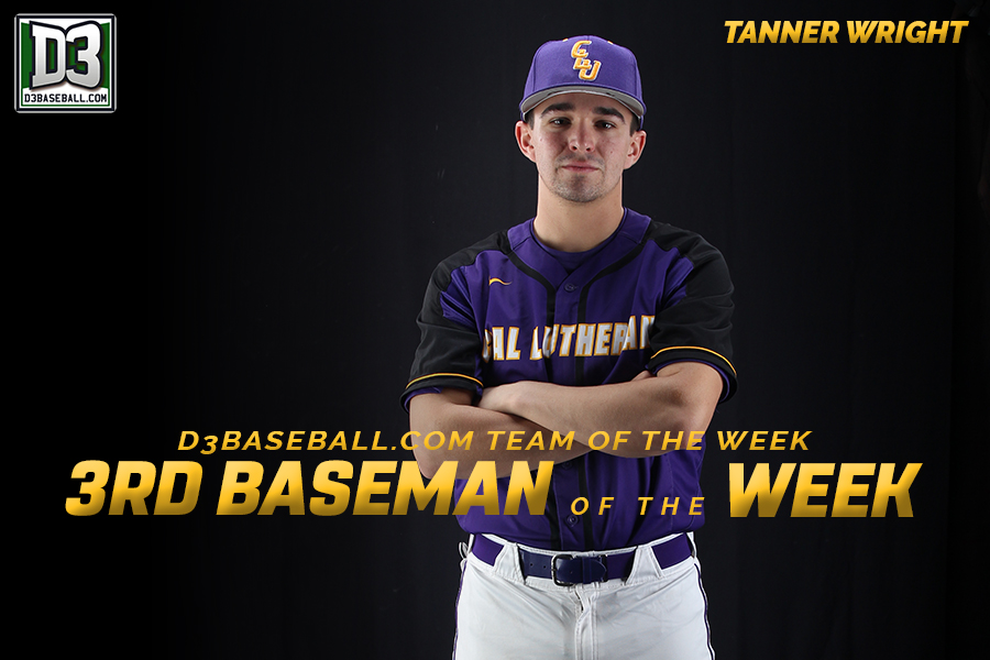 Wright Named D3Baseball.com's Third Baseman of the Week