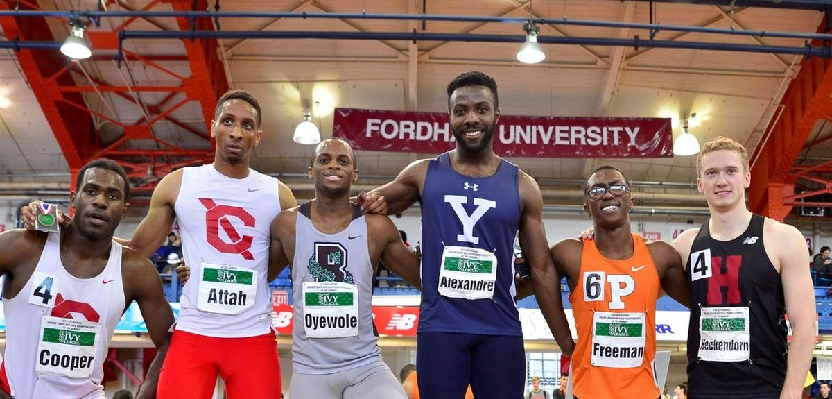Marc-Andre Alexandre on the podium (photo credit The Ivy League/Sideline Sports)