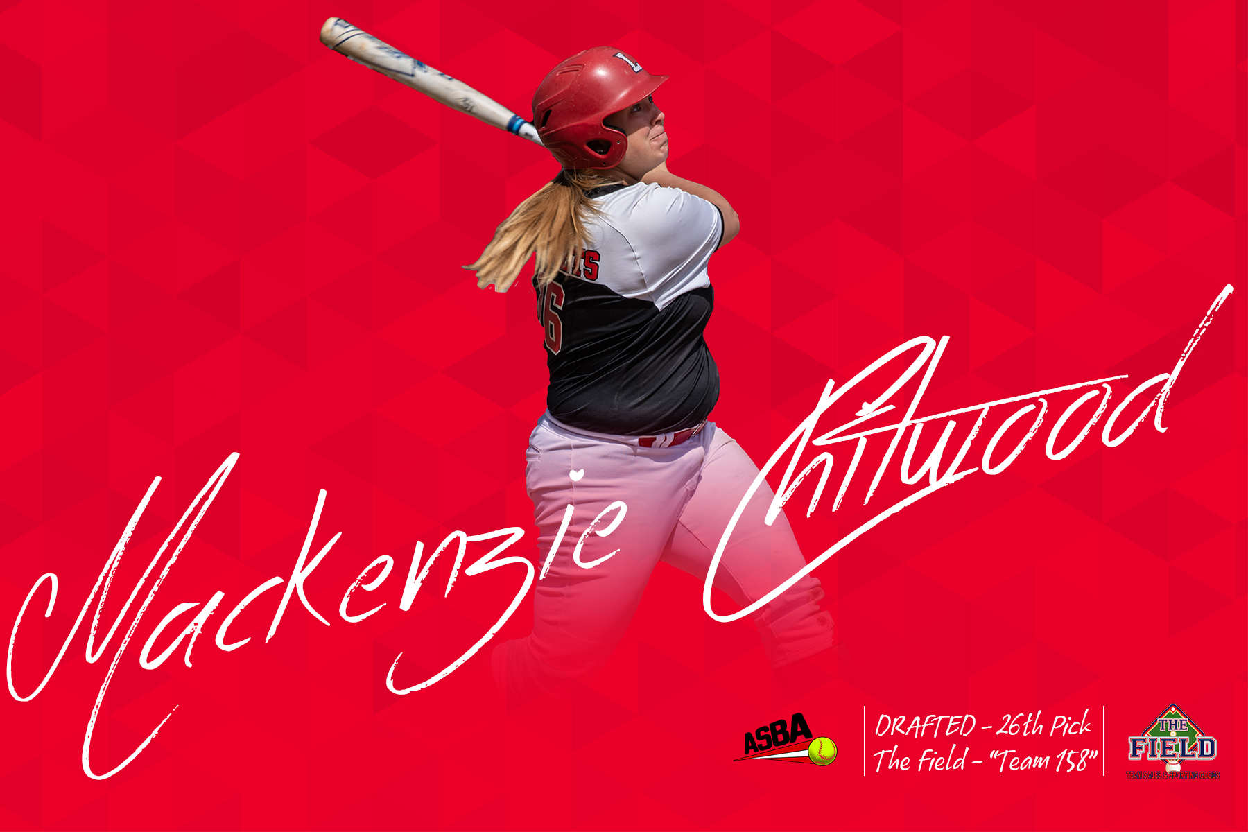 Red background with photo of Mackenzie Chitwood hitting and her signature in white across image