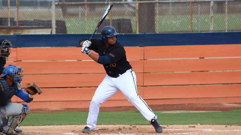Freshman Kristian Scott was 2 for 4 with 3 RBIs including the game winning run in Citrus' walk-off win over Pasadena City College. Photo By: Grazia Watkins