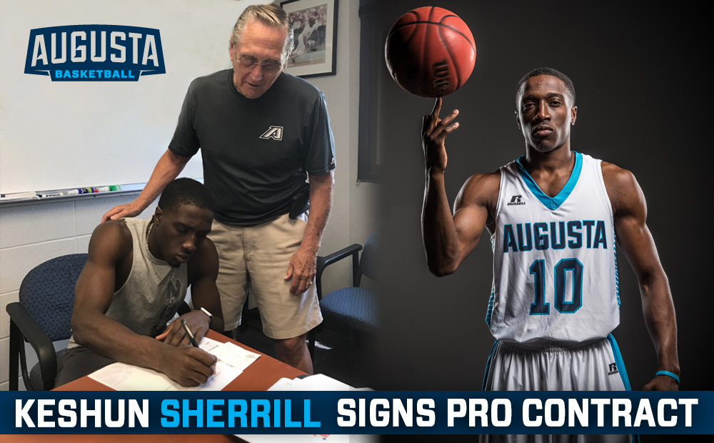 Sherrill signs his pro contract alongside longtime Augusta University men's basketball assistant coach Lenny Carlson