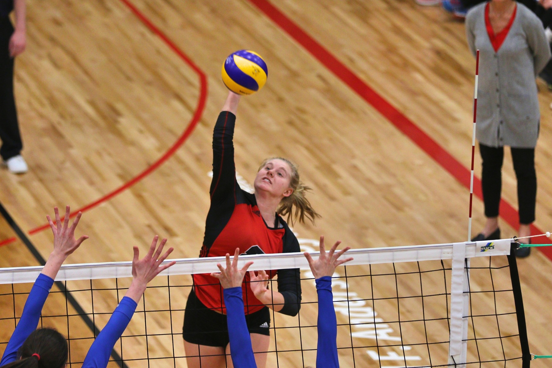 Ashleigh Laube had eight kills and tied for a team-high with 10 digs to lead the Wesmen in a straight-sets loss to UBC Friday night. (David Larkins/Wesmen Athletics)