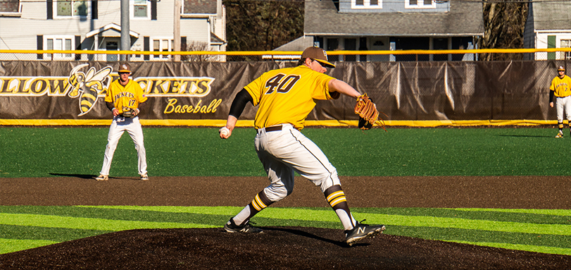 Junior Spencer Berg received the win in the first game of the doubleheader against the University of Mount Union (Photo Courtesy of Alec Palmer)