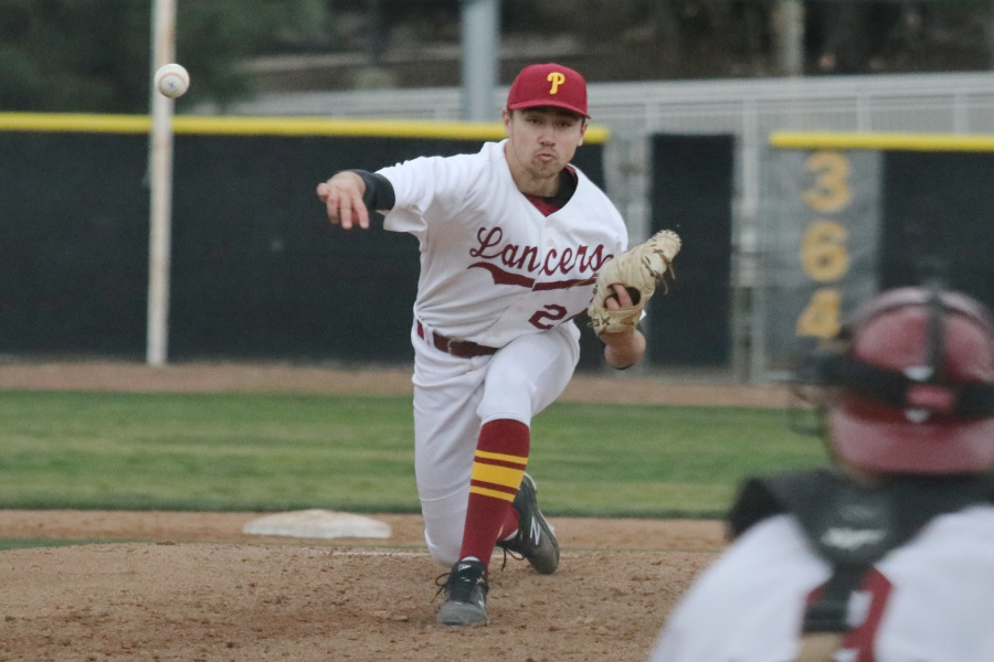 Lancer Gordon Ingebritson fires a pitch during his 5-hitter v. Glendale on Wednesday, photo by Richard Quinton.