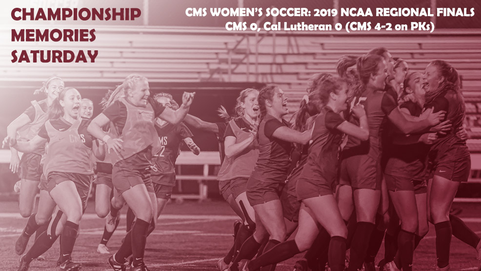 CMS Women's Soccer celebrating the NCAA Regional title. 