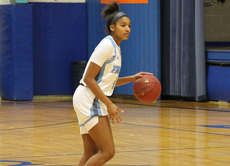 CCC freshman Kashaelyn Fuselier and the Trojans won their first Jayhawk Conference game of the season, 79-73, over Allen Community College Dec. 9 at the Colby Community Building.