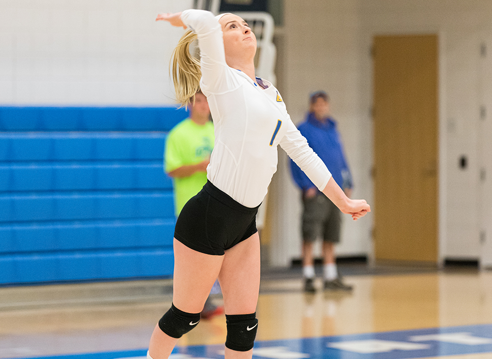 Women's Volleyball Splits Tri-Match at Wellesley