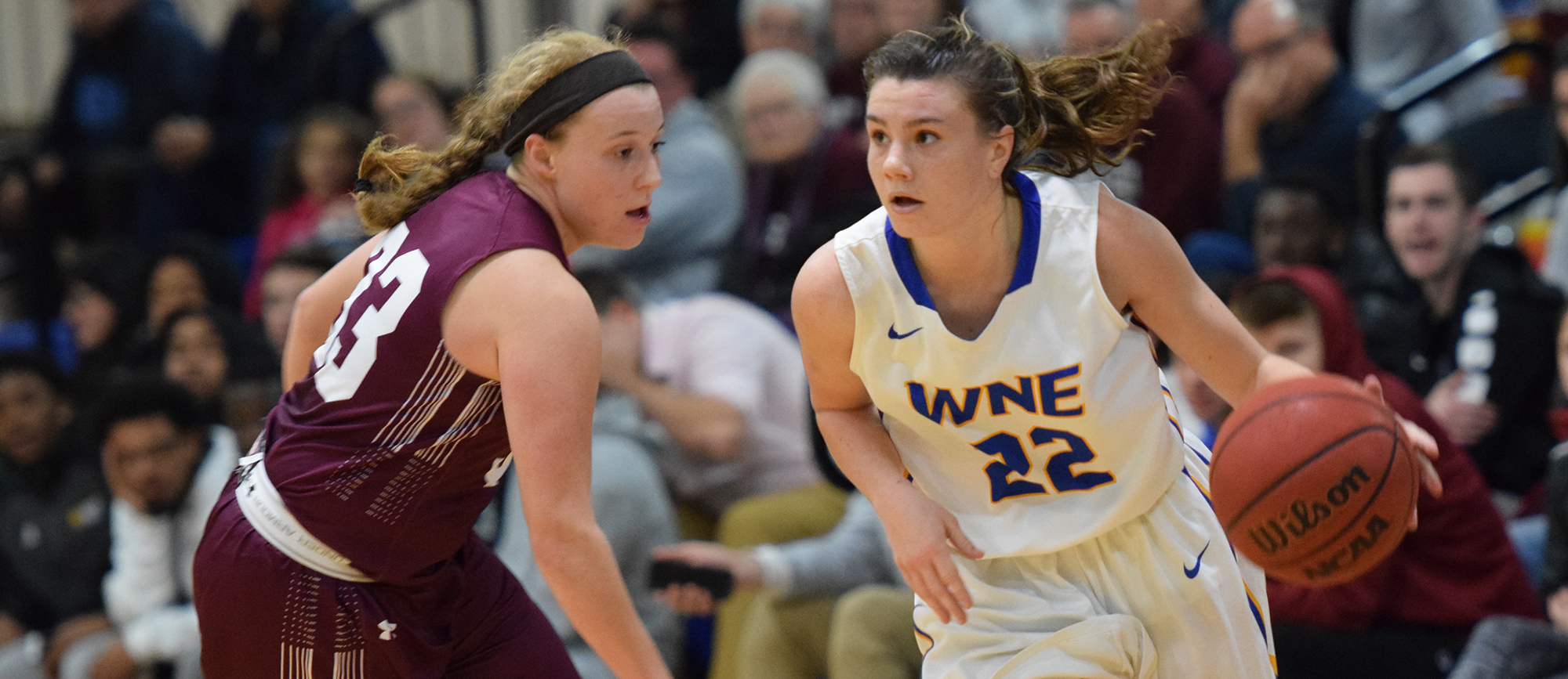 Junior Emily Farrell scored a team-high 15 points as Western New England picked up a 58-49 victory over crosstown rival Springfield College on Tuesday night. (Photo by Rachael Margossian)
