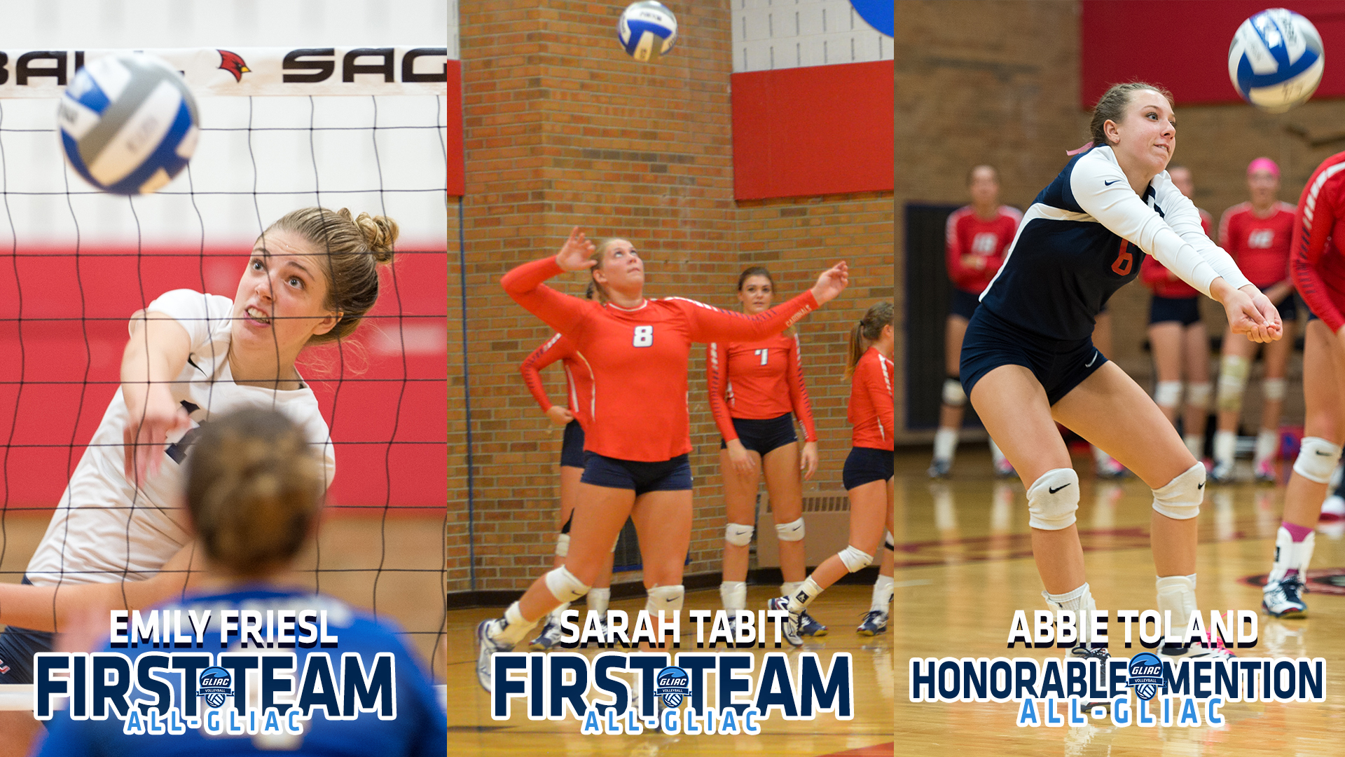 Friesl, Tabit and Toland, earn All-GLIAC Volleyball Accolades