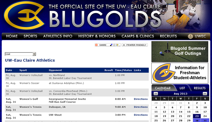 Blugolds' 2013-14 Schedules Now Available