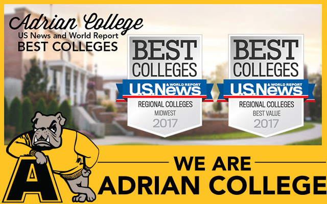"Adrian College Ranked as a ""Top College"" in the Midwest and ""Best Value"" by U.S. News & World Report"