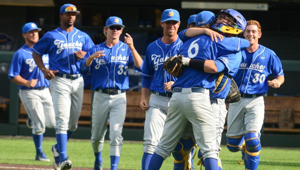 Justin Kelly and Dempsey Grover hug it out after helping the Gauchos advance to the Nashville Regional final
