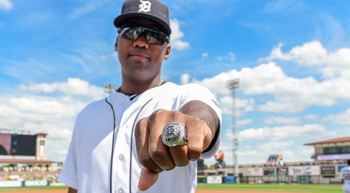 Chavez Fernander displays the 2018 Gulf Coast League Championship ring he received today before a Detroit Tigers spring training game at Joker Marchant Stadium in Lakeland. (Photo by Tom Hagerty, Polk State.)