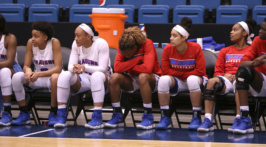 The No. 19 ranked Blue Dragon women look on during a 70-50 Region VI semifinal loss to Independence in Tuesday at Hartman Arena in Park City. (Joel Powers/Blue Dragon Sports Information)