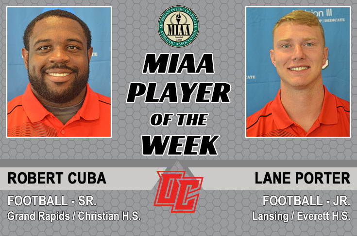 Olivet's Cuba and Porter named MIAA Football Players of the Week