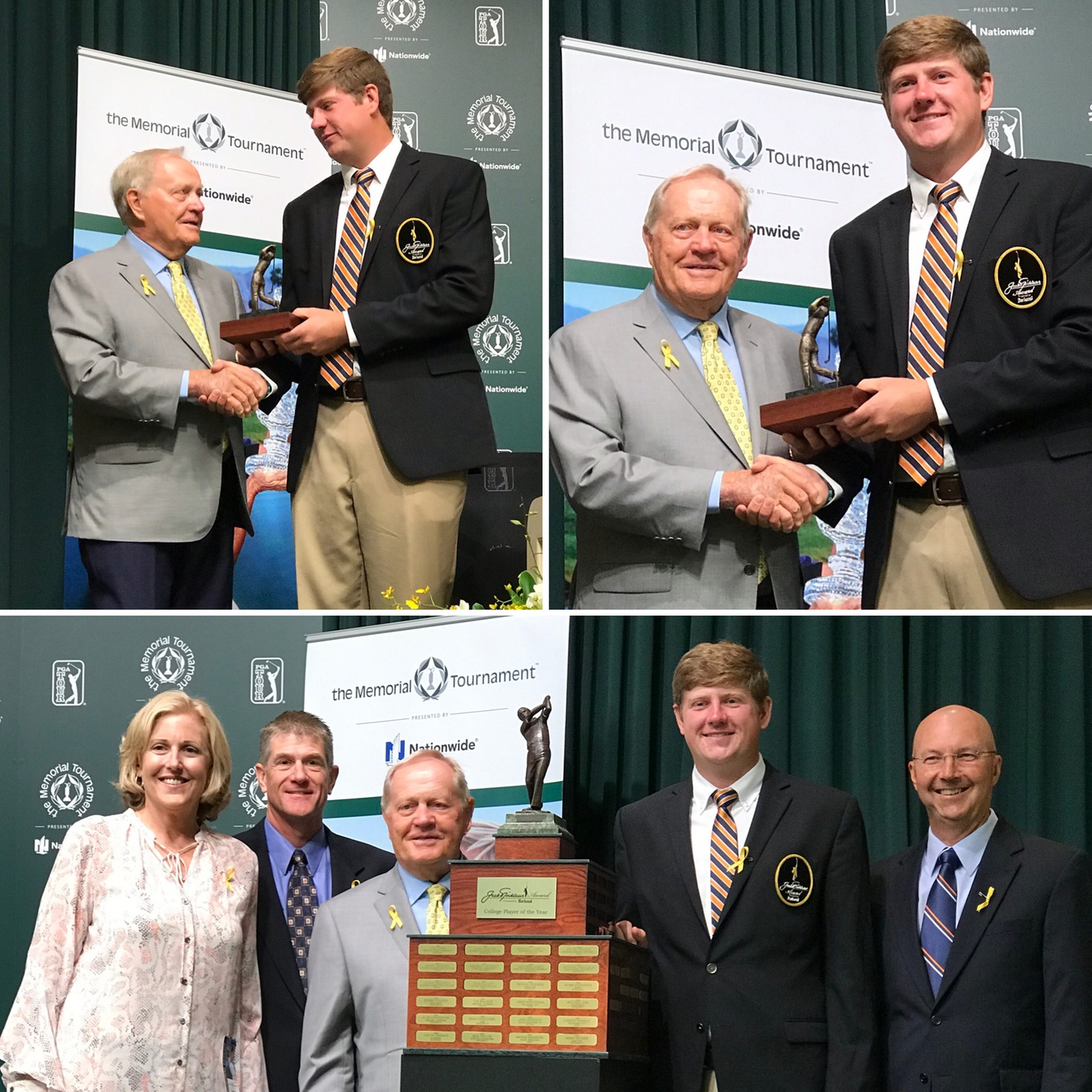Golfer Josh Gibson accepts his national player of the year award from Jack Nicklaus