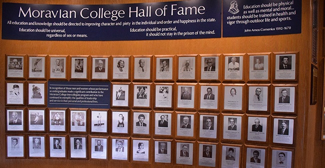 The Moravian College Hall of Fame display in Johnston Hall.