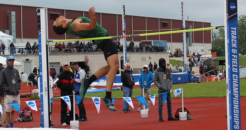Antone Truss clears his first height at the 2017 NCAA Division III Outdoor Track and Field Championships at the SPIRE Institute Saturday.