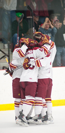 Bulldogs goal celebration (Photo by Ed Hyde)