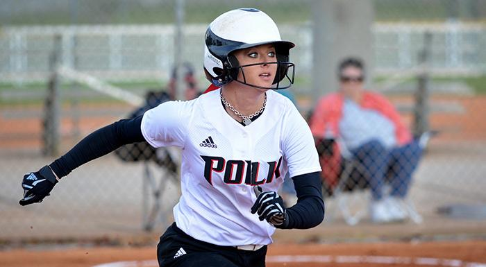 In two games Amber Butler had six hits, four stolen bases, and two RBI as the Eagles won one of two games against Eastern Florida. (Photo by Tom Hagerty, Polk State.)