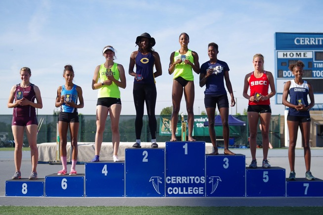 Led by champion Juanita Webster, Cerritos had three of the top four finishers at the SoCal Heptathlon Championships