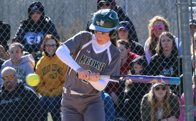 Keuka College had 5 hits on the day from freshman Jessie Hammers (2)