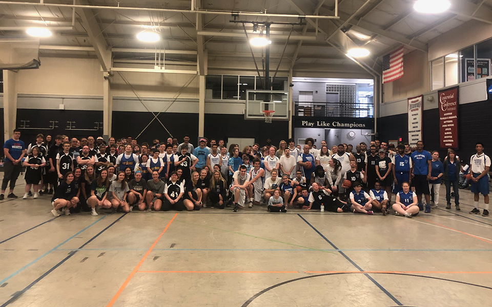 Moravian student-athletes and Special Olympic athletes at the 7th Annual SAAC Special Olympics Basketball Tournament in Timothy Breidegam Fieldhouse.