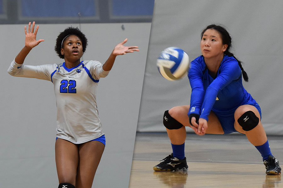 Senior Yasmine Reece (L) and Samantha Hoang (R) each reached career milestones in tonight's victory (Julia Monaco).