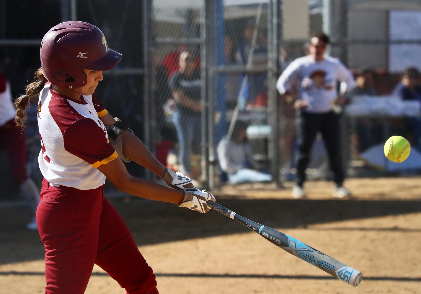 Samantha Diaz connects for a home run in PCC's game on Saturday at Robinson Park, photo by Michael Watkins.