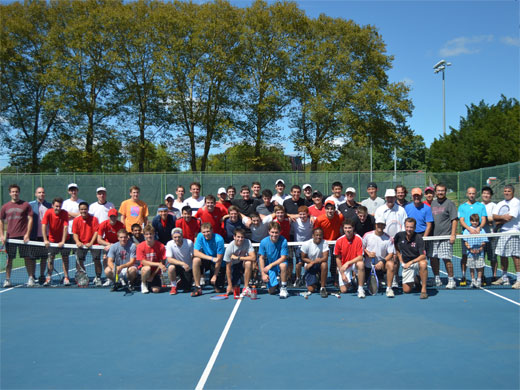 Alums squeak by varsity on men's tennis alumni day