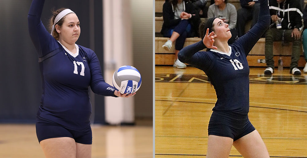 Penn State Brandywine volleyball all-Americans Nicolette Napoleon and Lauren Kelly