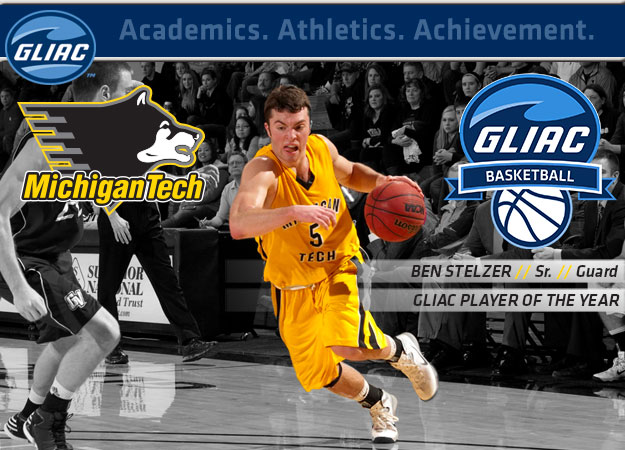 Michigan Tech's Stelzer Named GLIAC Men's Basketball Player of the Year; All-GLIAC Teams Announced