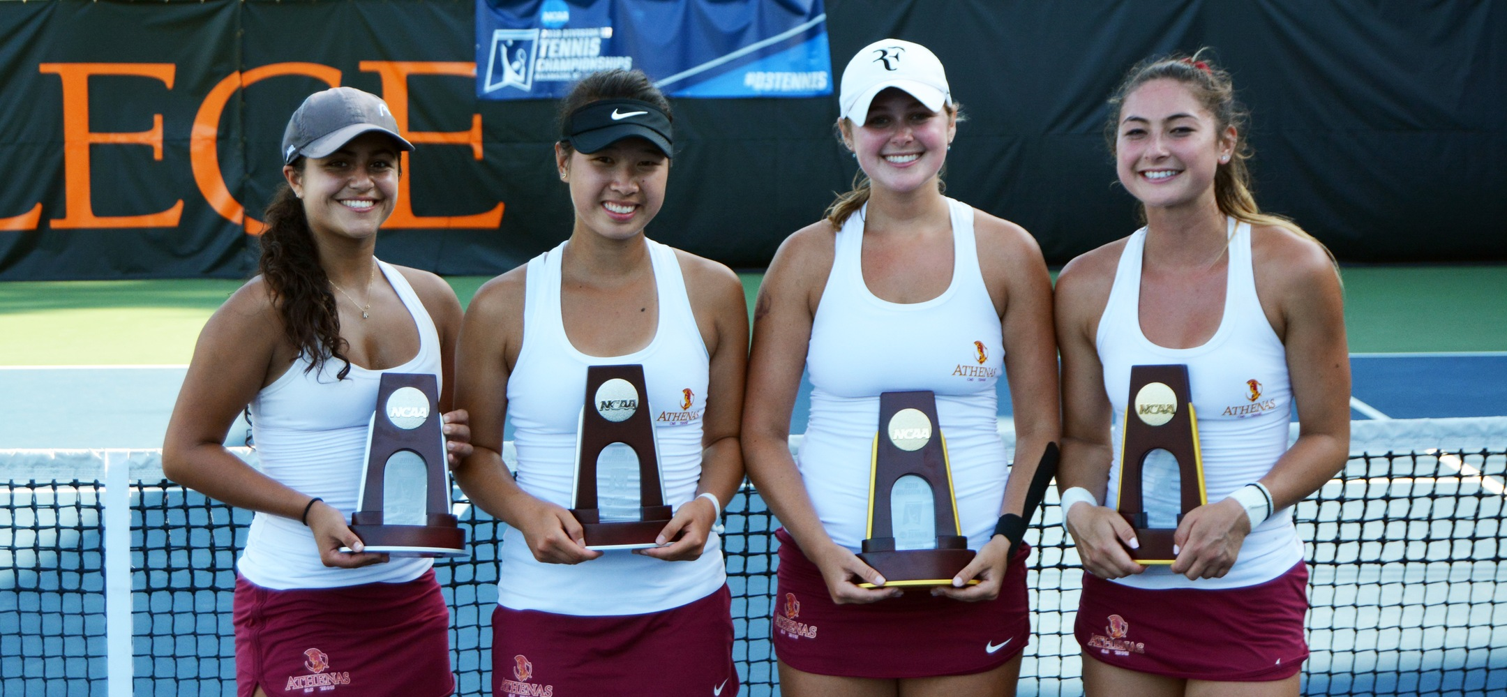 From L to R: Sarah Bahsoun, Nicole Tan, Caroline Cox and Catherine Allen after facing each other in the NCAA Doubles Finals