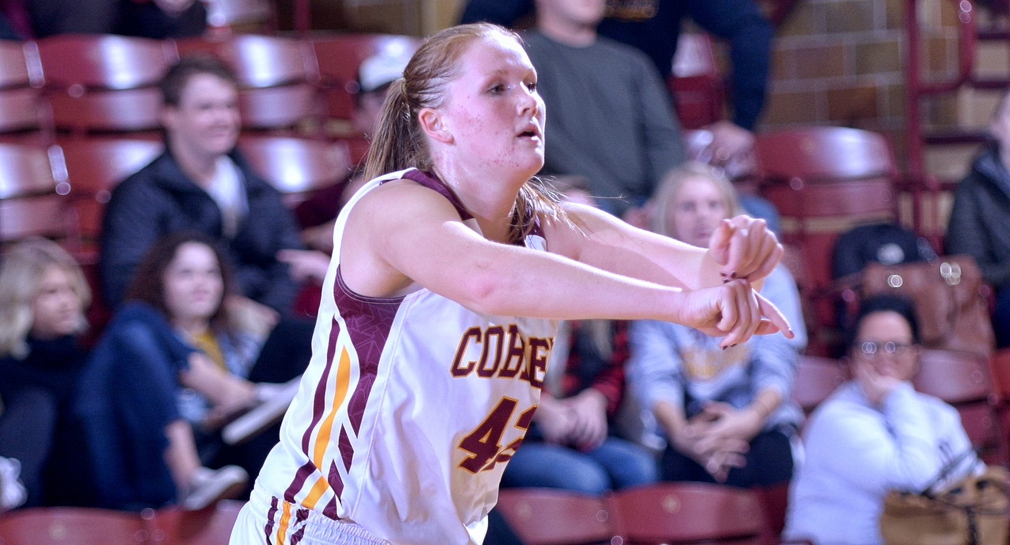 Senior Kirstin Simmons scored a career-high 17 points in the Cobbers' non-conference win at St. Benedict.