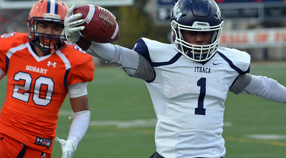 Kendall Anderson gets into the end zone for Ithaca. (Ithaca athletics photo)