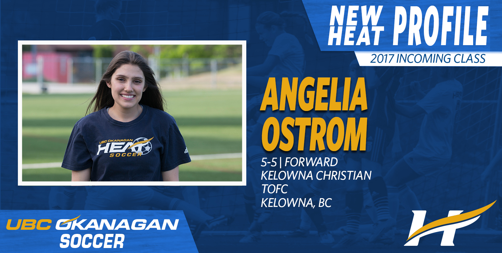 Angelia Ostrom a local outstanding striker will add depth to UBC Okanagan this fall