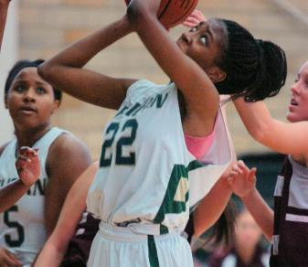 Freshman Sierra McDuffie (22) scored a season-high 15 points with seven rebounds in a Jan. 5, 2013, home win over Georgian Court.