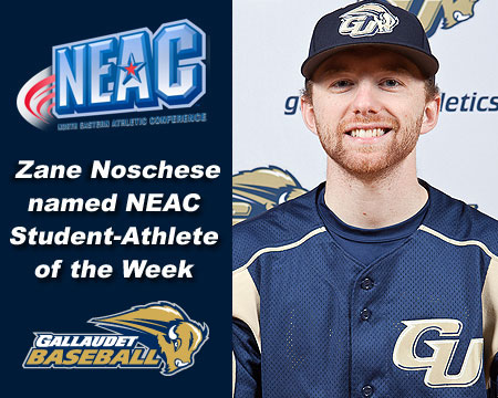Gallaudet's Zane Noschese named NEAC Baseball Student-Athlete of the Week