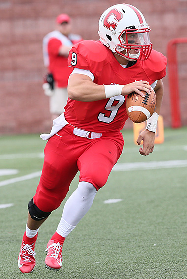 Brett Segala on the run, rolling out. (Cortland athletics photo by Darl Zehr Photography)