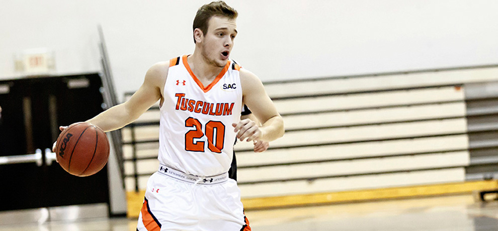 Trey Blevins scored a season-best 15 points including 13 in a 25-3 run in Tusculum's SAC win over Brevard