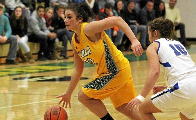 Senior Amanda Kubitz snared 10 rebounds and added four points, but women's basketball fell to Wentworth Institute of Technology 60-49 Sunday (photo courtesy of Ed Webber, Keuka College Sports Information Department).