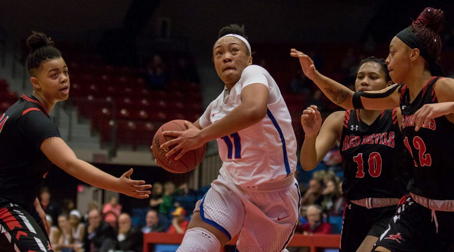 Alicia Brown and the No. 18 Blue Dragons travel to Independence at 6 p.m. on Wednesday in a big Jayhawk Conference battle of first-place teams. (Allie Schweizer/Blue Dragon Sports Information)
