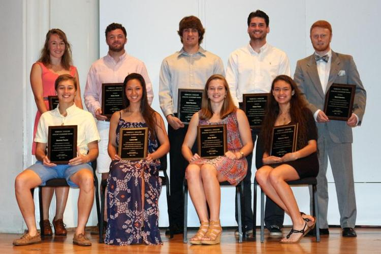 2016 Nereus C. English Athletic Leadership Award (clockwise from back): Kelsey Ruehling (volleyball), Adam Smith (football), Zachary Houston (basketball), Adam Fiore (lacrosse), Nick Eckstein (soccer), Rebecca Reyna (cross-country/track and field), Amy Steller (basketball, track and field), Laura Hall (softball), Summer Fowler (lacrosse). Photos by Emily Zegel '18.