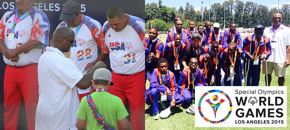 Gallaudet's Curtis Pride helps to distribute medals at Special Olympics World Games
