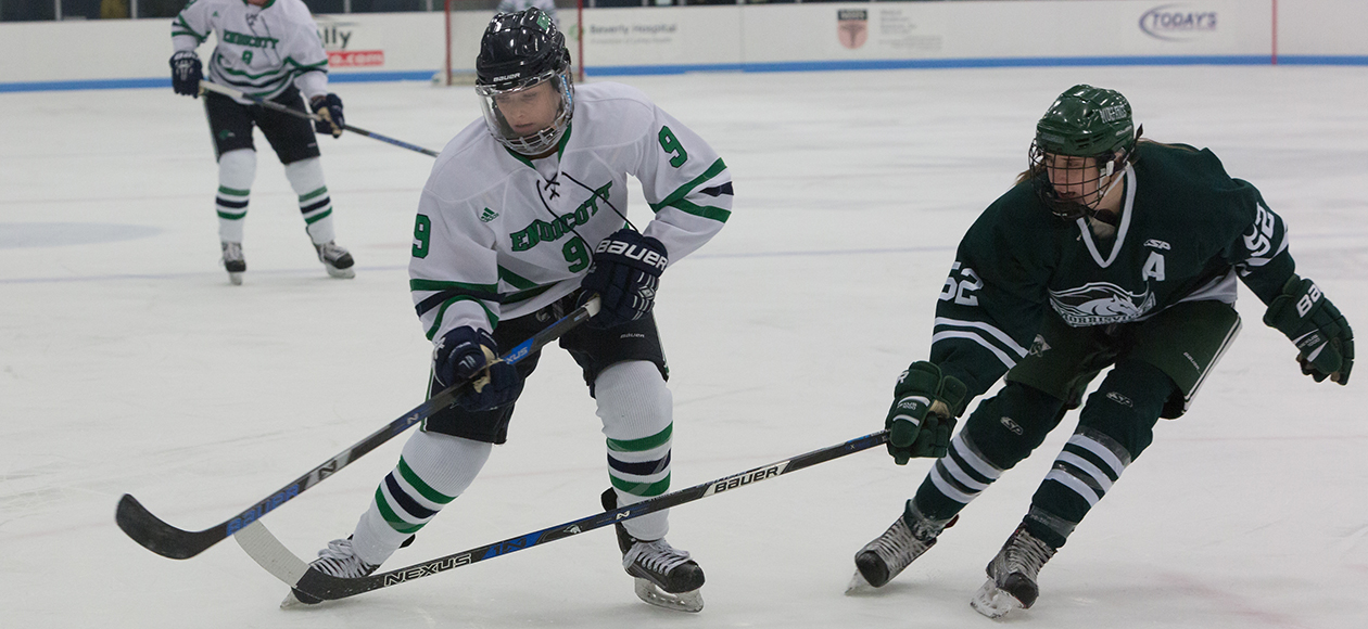 Michaela McNamara skates towards the puck.