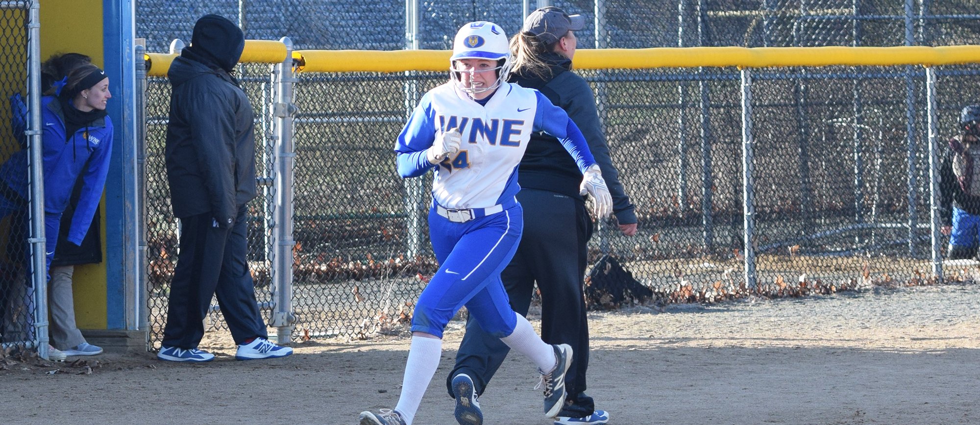 Sophomore Cassidy Howe recorded four hits during Western New England's doubleheader sweep over UNE on Friday in Biddeford. (Photo by Rachael Margossian)