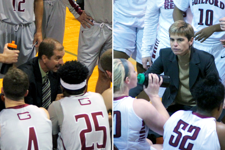 Head men's basketball coach Tom Palombo (left), head women's basketball coach Stephanie Flamini (right)